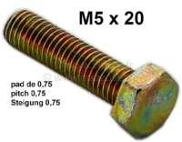 M5x20, Steigung 0,75! Schraube gelb chromatiert. Achtung: Diese Schraube hat die 0,75 Steigung, so wie sie bis 04/1970 von Citroen verbaut wurden (Norm S.i.m). Heutige Schrauben haben die Steigung 0,80! (Norm ISO) - 21132 - Der Franzose
