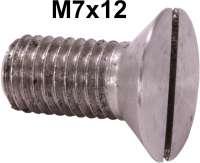 M7x12. Senkkopfschraube 7mm, mit flachem Schraubenkopf! Material: Edelstahl. Der Schraubenkopf hat ca. 12mm Durchmesser! Z.B passend für die Türschlosskeile (Citroen 11CV). - 60575 - Der Franzose