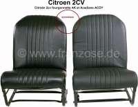 2CV, Sitzbezug Vordersitz (2x) links + rechts. symetrisch, Kunstleder schwarz, die Oberfläche ist glatt. Seiten geschlossen. Passend für Citroën 2cv, fourgonnette AK, Acadiane ACDY - 18315 - Der Franzose