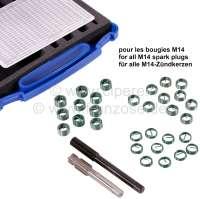 Helicoil Zündkerzengewinde Reparatursatz. Für alle M14 Zündkerzen. Inhalt: 1 Bohr + Schneidwerkzeug, Einbauspindel. 10x Helicoileinsatz M14x1,25x17,5. (Kerzen mit langen Gewinde). 10x Helicoileinsatz M14x1,25x12,7. (Kerzen mit kurzen Gewinde, 2CV, R4). - 20947 - Der Franzose
