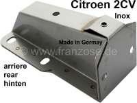 Stoßstangenhalter hinten aus Edelstahl, für Citroen 2CV6 + 4. Der Halter ist für die hohe Stoßstange. Verbaut von 09/1974 bis 07/1990. Made in Germany. - 16518 - Der Franzose