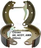 Bremsbacken vorne. Passend für Citroen AK, ACDY, AMI 6. Belagbreite ca. 45mm. 220mm Durchmesser. Markenqualität. | 13006 | Der Franzose - www.franzose.de