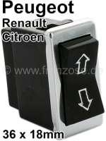 Fensterheberschalter, mit Chromrahmen. Passend für Peugeot 504, 604. Citroen CX1. Renault R16. Abmessung: 36 x 18mm. - 75043 - Der Franzose