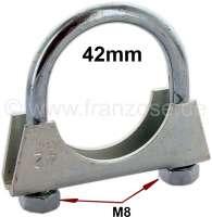 Auspuffschelle 42mm (Bügelschelle). Gewinde: M8! | 21064 | Der Franzose - www.franzose.de