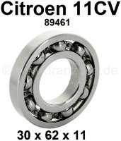 Getriebe Primärwelle Lager, passend für Citroen 11CV. Abmessung: 30 x 62 x 11mm. Or. Nr. 89461. - 60907 - Der Franzose