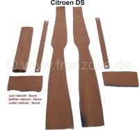 B-Säule Verkleidung (links + rechts). Passend für Citroen DS. Material: Leder hellbraun (naturel - fauve). Or. Nr. DS986-100B + DS986-100C | 38614 | Der Franzose - www.franzose.de