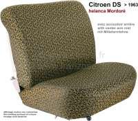 DS > 1959, Sitzbezüge vorne + hinten. Citroen DS, von Baujahr 1958 bis 1959 (niedrige Rückenlehne, mit Mittelarmlehne in der Rücksitzbank). Farbe: Helanca Mordoré. Glatte Sitzflächen. - 38585 - Der Franzose