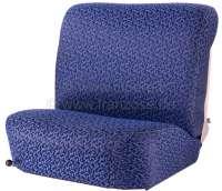 DS > 1962, Sitzbezüge vorne + hinten. Citroen DS, bis Baujahr 1962 (niedrige Rückenlehne, mit Mittelarmlehne in der Rücksitzbank). Farbe: Helanca bleu. Glatte Sitzflächen. -1 - 38584 - Der Franzose