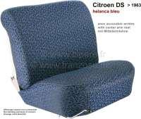 DS > 1962, Sitzbezüge vorne + hinten. Citroen DS, bis Baujahr 1962 (niedrige Rückenlehne, mit Mittelarmlehne in der Rücksitzbank). Farbe: Helanca bleu. Glatte Sitzflächen. - 38584 - Der Franzose