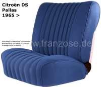 DS Pallas, Sitzbezüge vorne + hinten, Citroen DS Pallas, Farbe dunkel blau. Hohe Rückenlehne ab 1965. Der Sitzbezug ist mittig in Pfeifen abgesteppt (längsgenäht). - 38055 - Der Franzose
