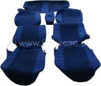 DS Pallas, Sitzbezüge vorne + hinten, Citroen DS Pallas, Farbe dunkelblau gestreift (Streifen in schwarz). Hohe Rückenlehne ab 1965. Der Sitzbezug ist mittig in Pfeiffen abgesteppt (längsgenäht). Die Pfeiffen sind gestreift. -2 - 38545 - Der Franzose