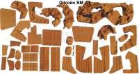 SM, Sitzbezüge vorne + hinten. Farbe: ocker (Caramel). Incl. Material für die Türverkleidungen. Passend für Citroen SM, ab Baujahr 07/1972. Motiv. Quadrate. Bestehend aus: 36 Stoffteilen + 16 Schaumstoffteilen - 38626 - Der Franzose