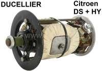 Gleichstrom Lichtmaschine (Ducellier) Reparatur Satz. Passend für Baureihe: 7. 12 Volt. 350 Watt. Für Gehäuse Innendurchmesser: 88,0mm. Außendurchmesser: 103mm. Länge: 153 - 154mm. Bestehend aus: Lagerdeckel vorne + hinten. Rotor, Kohlen. Die Feldwicklung ist incl. Metallkern. Passend für Citroen DS + HY. Original Ducellier (NOS), kein Nachbau! - 73001 - Der Franzose