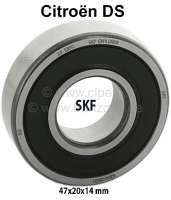 Nockenwellenlager vorne (1 Stück / SKF), passend für Citroen DS. Abmessung: 47x20x14 mm (Kugellager geschlossen). Hersteller: SKF - 30360 - Der Franzose
