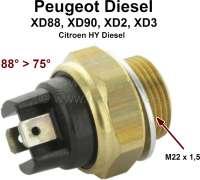 Temperaturschalter Kühlwasser. 88°-75°. Gewinde: M22x1,5. Passend für Peugeot Dieselmotoren, XD88, XD90, XD2 XD3 (Peugeot 404, 505, 604, Citroen HY). - 72051 - Der Franzose