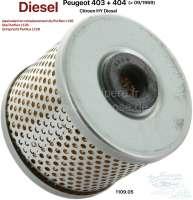 Ölfilter (entspricht Pruflux L126). Passend für Peugeot 403 Diesel. Peugeot 404 Diesel, bis Baujahr 09/1969. Citroen HY Diesel. Or. Nr. 1109.05 - 70752 - Der Franzose