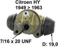 Radbremszylinder hinten. Passend für Citroen HY, von Baujahr 1948 bis 1958 (H 1200kg). HZ von Baujahr 1949 bis 1963 (HZ 850kg). Kolbendurchmesser: 19mm Kolben. Made in France - 48217 - Der Franzose