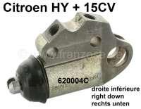 Radbremszylinder vorne rechts, unten. Passend für Citroen HY + Citroen 15CV. Kolbendurchmesser: 32,0mm. Bremsleitungsanschluß: M12x1mm. Or. Nr. 620004C. - 48049 - Der Franzose