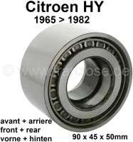 Radlager, passend für Citroen HY, von Baujahr 1965 bis 1982. Vorne oder hinten passend! Per Stück. Aussendurchmesser: 90,0mm. Innendurchmesser: 45,0mm. Bauhöhe: 50,0mm - 43071 - Der Franzose