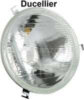 P 403/404/DS, Scheinwerfereinsatz DS alte Front/ Peugeot 403/404. Ausführung, H4, Ducellier. 180mm Durchmesser. Befestigung 3x Halterung. Ohne Prüfzeichen! - 75132 - Der Franzose