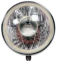 Scheinwerfereinsatz Marchal. Passend für Citroen 11CV + 15CV. 191mm, incl. Chromring. Der Scheinwerfer ist ohne Lampenfassung! Die passende Lampenfassung finden Sie unter der Nummer 60798. Die Fassung 60798 hat auch eine zusätzliche Fassung für das Standlicht (Sofitte). - 60874 - Der Franzose