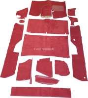 DS Non Pallas, Teppichsatz 14 teilig. Farbe rot. Dieser Teppichsatz ist für normale Citroen DS mit Bremspedal, die optisch auf Pallas umgebaut werden sollen. Der Teppichsatz wird ohne Schaumstoff und Filzmatten geliefert. - 38359 - Der Franzose