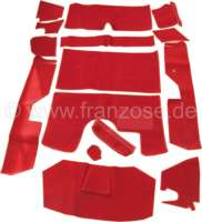 DS Pallas, Teppichsatz 14 teilig, für Citroen DS Pallas. Farbe: hell-rot. Gute Qualität. Die Teppiche werden ohne Schaumstoff und Filzmatten geliefert. - 38592 - Der Franzose