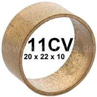 Buchse (Lagerung) aus Bronze, für die Bremsbacken. Passend für Citroen 11CV + HY. Abmessung: 20 x 22 x 10mm. Or. Nr. 438314 + ZY9438656U. Achtung: Für HY müssen die Buchsen auf eine Höhe von 8,5mm gekürzt werden (abschleifen). - 60501 - Der Franzose