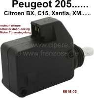 Stellantrieb für die Türverriegelung (Betätigung der Zugstange im Schloss). Passend für Peugeot 205, 106, 206, 306, 309, 405, 406, 806, Expert 1 + 2. Citroen: AX, BX, C15, Evasion, Jumpy 1 + 2, Xantia 1 + 2, XM 1 + 2. Or. Nr. 6615.02 - 75366 - Der Franzose