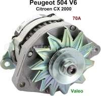 P 504/CX, Lichtmaschine (mit integrierten Lichtmaschinenregler). Passend für Peugeot 504 V6 (Coupe + Cabrio). Citroen CX 2000, ab Baujahr 1979. 12 Volt. 70 Ampere, Doppelarm. Einbaulage: 20°. Zuzüglich Altteilpfand 100 Euro. | 72122 | Der Franzose - www.franzose.de