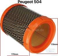 P 404/504/J7/C25, Luftfilter. Passend für Peugeot 504, ab Baujahr 10/1970. Der Luftfilter passt auch teilweise in Peugeot 404, J7 + Citroen C25. Aussendurchmesser: 119mm. Innendurchmesser: 91mm. Höhe: 170mm. - 72335 - Der Franzose