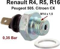 Öldruckschalter. Gewinde: M14 x 1,5. Schaltdruck: 0,2 bis 0,45 Bar. Passend für Renault R4 (ab Baujahr 1967), R5, R16. Citroen CX1 2000-2200, CX2 20RE. Peugeot 505 2.0 + 2,2. - 81028 - Der Franzose