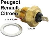 Temperaturschalter (Sensor) Kühlwasser. Passend für Peugeot 104, 204, 304, 404, 504, 505, J5. Or. Nr. Peugeot: 0242.14. Citroen CX, C25. Renault R5, R12. Gewinde: M18x1,5. - 72699 - Der Franzose