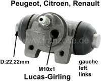 P 504, Radbremszylinder hinten links Peu.504 System Girling 22,225mm, Berline 04/73> GL-GR-DR-Diesel 07/77> Citroen LN 10/76 bis 09/77 R5 ab 1985, Fuego,R9,  Kolbendurchmesser = 22,225 mm, Ankerplattenbohrung = 32 mm, Leitungsanschluss = 10x1 mm, Länge über alles = 59 mm.  Made in Europe. - 74067 - Der Franzose