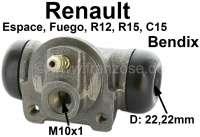 Radbremszylinder hinten (System Bendix), links oder rechts passend. Für Citroen C15. Renault Espace I, Fuego, R12, R18. Kolbendurchmesser: 22,2mm. Ankerplattenbohrung: 36mm. Bremsleitungsanschluss: 10x1 mm. Länge über alles: 70mm. - 83177 - Der Franzose