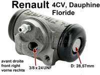 4CV/Dauphine/Floride, Radbremszylinder vorne rechts. Passend für Renault 4CV, ab Baujahr 03/1956. Renault Dauphine, Floride + Panhard. Kolbendurchmesser: 28,57 mm. Ankerplattenbohrung: 36 mm. Bremsleitungsanschluss: 3/8 x 24 UNF. Länge über alles: 71 mm. - 80017 - Der Franzose