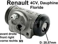 4CV/Dauphine/Floride, Radbremszylinder vorne rechts. Passend für Renault 4CV, ab Baujahr 03/1956. Renault Dauphine, Floride + Panhard. Kolbendurchmesser: 28,57 mm. Ankerplattenbohrung: 36 mm. Bremsleitungsanschluss: 9 mm. Länge über alles: 71 mm. | 80017 | Der Franzose - www.franzose.de