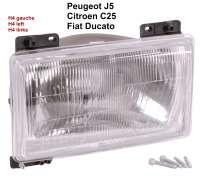 J5/C25/Ducato, Scheinwerfer H4 links, ohne Leuchtweitenregulierung. Peugeot J5 + Citroen C25. Or. Nr. 6204A7 - 75198 - Der Franzose