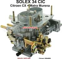 Vergaser SOLEX 34CIC (kein Nachbau). Passend für Citroen CX 2000 (75kW), von Baujahr 1975 bis 1979. CX 2400, von Baujahr 1978 bis 1979. Talbot Matra Murena 2,2. Original SOLEX Vergaser, kein Nachbau. Or. Nr. Citroen: 5504689 - 41418 - Der Franzose