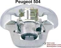 P 504, Bremssattel vorne. Je nach Einbaulage: Hinter der Achse links oder vor der Achse rechts. Passend für Peugeot 504. Bremssystem: Lucas. Bremsleitungsanschluß: 3/8 x 24UNF. Or. Nr. 4400.17. Im Austausch, zuzüglich 150 Euro Altteilpfand. Für Bremsscheibendicke: 12,9mm. 2 Kolben. Kolbendurchmesser: 54mm. - 74134 - Der Franzose
