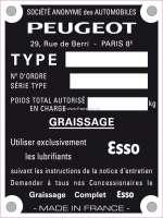 Typenschild Peugeot. 100x75mm. 4 Bohrungen. - 77649 - Der Franzose