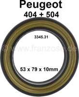P 404/504/505, Simmerring (mit Metalleinlage) für die Radnabe hinten (Steckachse). Abmessung: 53 x 79 x 10mm. Passend für Peugeot 404, 504, 505. Or. Nr. 3345.31 - 73320 - Der Franzose