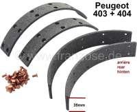 Bremsbacken Beläge, zum aufnieten. Für Bremstrommeldurchmesser: 254mm. Belagbreite: 35mm. Passend für Peugeot 403 + 404 Hinterachse. | 74647 | Der Franzose - www.franzose.de