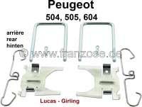 P 504/505/604, Bremsklötze Montagesatz hinten. Bremssystem: Lucas. Passend für Peugeot 504, ab Baujahr 1981. 505, 604. - 74648 - Der Franzose
