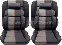 P 205, Sitzbezüge Satz (2x Sitz vorne, 1x Sitzbank hinten). Farbe: Leder schwarz mit Stoff (Tissue Ramier). Passend für Peugeot 205 GTI - 78106 - Der Franzose