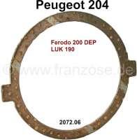 P 204, Anlaufscheibe Kupplung, Kupplungsseitig. Passend für Peugeot 204, bis Seriennummer 9080284. Or. Nr. 2072.06 (Kupplung Ferodo 200 DEP + LUK 190) - 71371 - Der Franzose