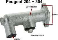 P 204/304, Kupplung Geberzylinder. Passend für Peugeot 204 + 304, alle Modelle ab Baujahr 10/1968. Kolbendurchmesser: 19,05mm. Anschlussgewinde: M12x1. Anstand Befestigungsbohrungen: 50mm. Or. Nr. 2095.09 +  2095.12. Made in Europe. - 72228 - Der Franzose