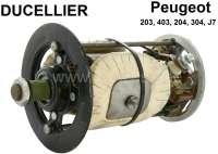 Gleichstrom Lichtmaschine (Ducellier) Reparatur Satz. Passend für Baureihe: 7. 12 Volt. 350 Watt. Für Gehäuse Innendurchmesser: 88,0mm. Außendurchmesser: 103mm. Länge: 153 - 154mm. Bestehend aus: Lagerdeckel vorne + hinten. Rotor, Kohlen. Die Feldwicklung ist incl. Metallkern. Passend für Peugeot 203, 403, 204, 304, J7. Original Ducellier (NOS), kein Nachbau! - 73002 - Der Franzose