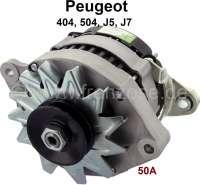 P 404/504, Lichtmaschine (mit integrierten Lichtmaschinenregler). Passend für Peugeot 404, Peugeot 504, J5, J7. 12 Volt. Ampere: 50. Einbaulage: 20°. Riemenscheibe: 67mm.  Neuteil, eine Altteilrückgabe ist nicht erforderlich. - 72118 - Der Franzose
