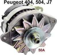 P 404/504/J7, Lichtmaschine 12V, 50A. Passend für Peugeot Fahrzeuge mit Voltmeter, oder Ladekontrollleuchte! Einfachschwenkarm. Einbauanlage rechts 20°. Neuteil,(mit integrierten Lichtmaschinenregler). Altteilrückgabe nicht erforderlich. - 72890 - Der Franzose
